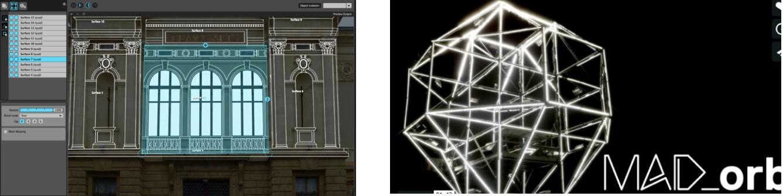 Figure 23: Madmapper[MAD2015], vidéomapping à gauche et contrôle de DEL à droite